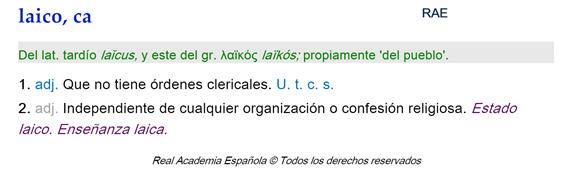 Laico definición RAE.png
